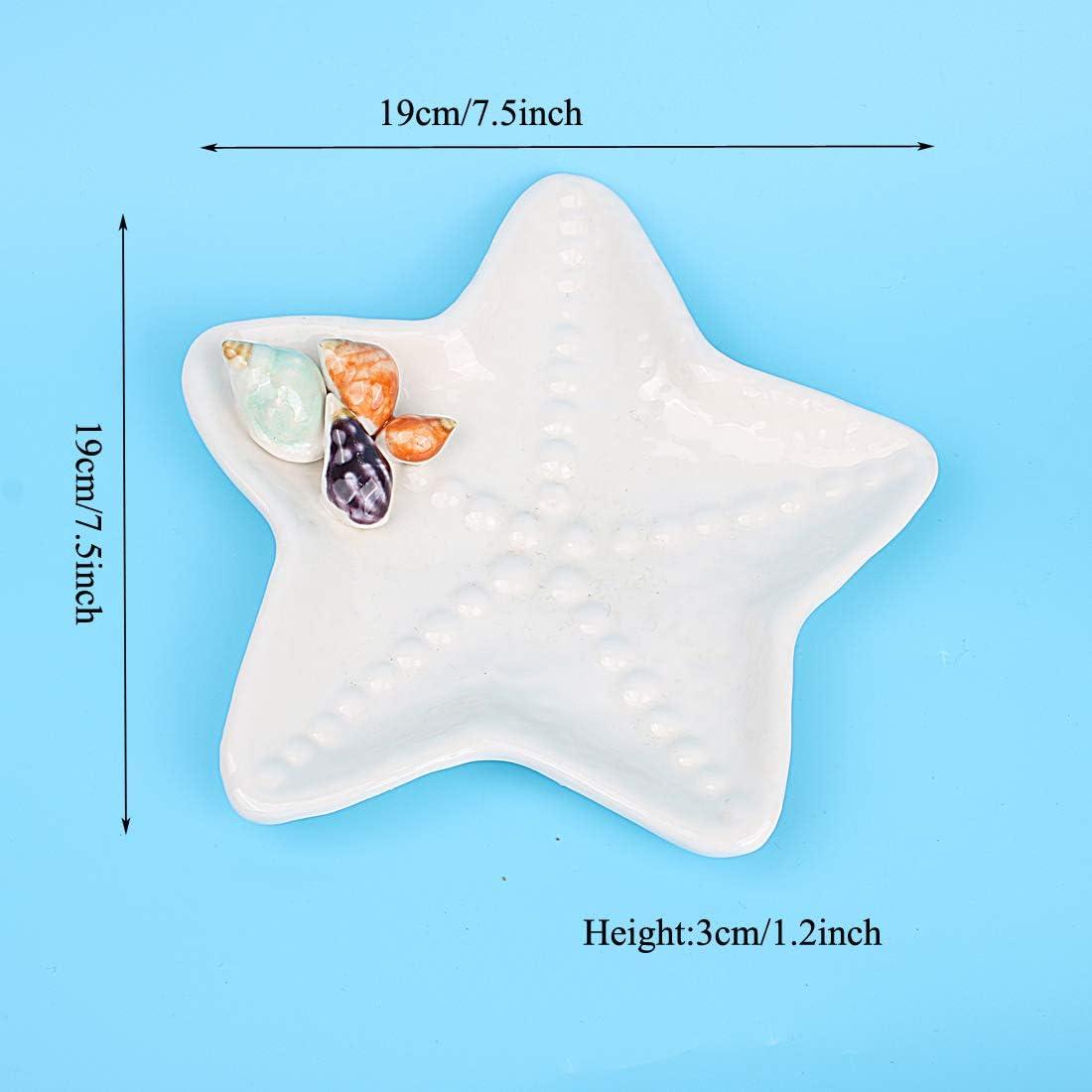 Hophen Ceramic Sea Shells Mediterranean Ocean Style Trinket Jewelry Candy Storage Box Jar Dishes Tray Bowl Home Decoration