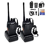 Ammiy Galwad-888S Walkie Talkie 2pcs in One Box with Rechargeable Battery Headphone Wall Charger Long Range 16 Channels Two Way Radio (2pcs radios)