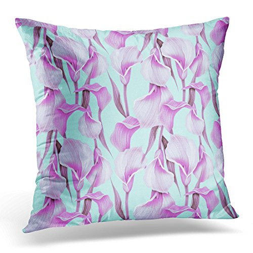 Bordered Calla Lilies (TOMKEYS Throw Pillow Cover Green Abstract Calla Lilly Flower Elegant Colorful Pattern with Cute Floral Decorative Pillow Case Home Decor Square 20x20 Inches Pillowcase)