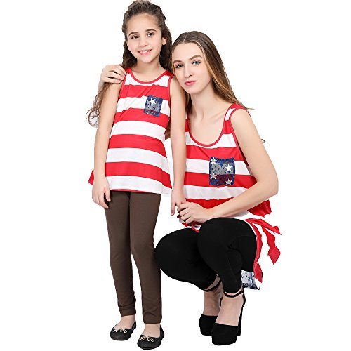 L-fannitily 2018 Family Matching American Flag Lace Pocket Stripe Back Lace Top Coat Fashion T-Shirts (10T) by L-fannitily (Image #5)
