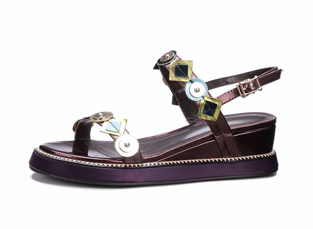 Onfly New Frauen Plattform Roman Sandalen 2018 Fruuml;hjahr neue Rindsleder flache dicke untere Schnalle Mode Sommer Keil Schuhe eu size  38|Rot