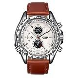 CIVO Men's Brown Leather Japanese Quartz Casual Business Wrist Watch