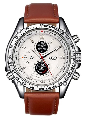 CIVO Mens White Decorative Sub Dials Brown Leather Band Wrist Watches Japan Movement Quartz Watch Classic Fashion Design Dress Casual Business Watches for Men