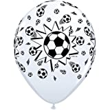 "Black & White Football/Soccer 11"" Latex Qualatex Balloons x 5"