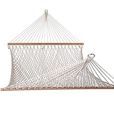 Lazy Daze Hammocks Cotton Rope Double Hammock with Wood Spreader, Chains and Hooks, for Two Person, 450 Pounds Capacity, Natural