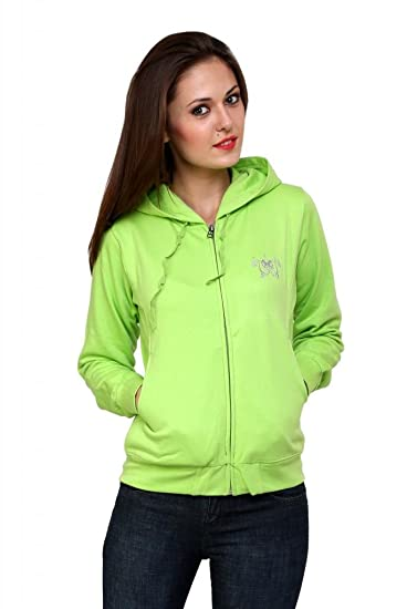 Cayman Fleece Sweatshirt For Women (Lime Green,Medium)