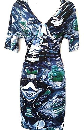 Karen Millen Robe En Jersey Imprimé Marbre Bleu Fluide À Plusieurs