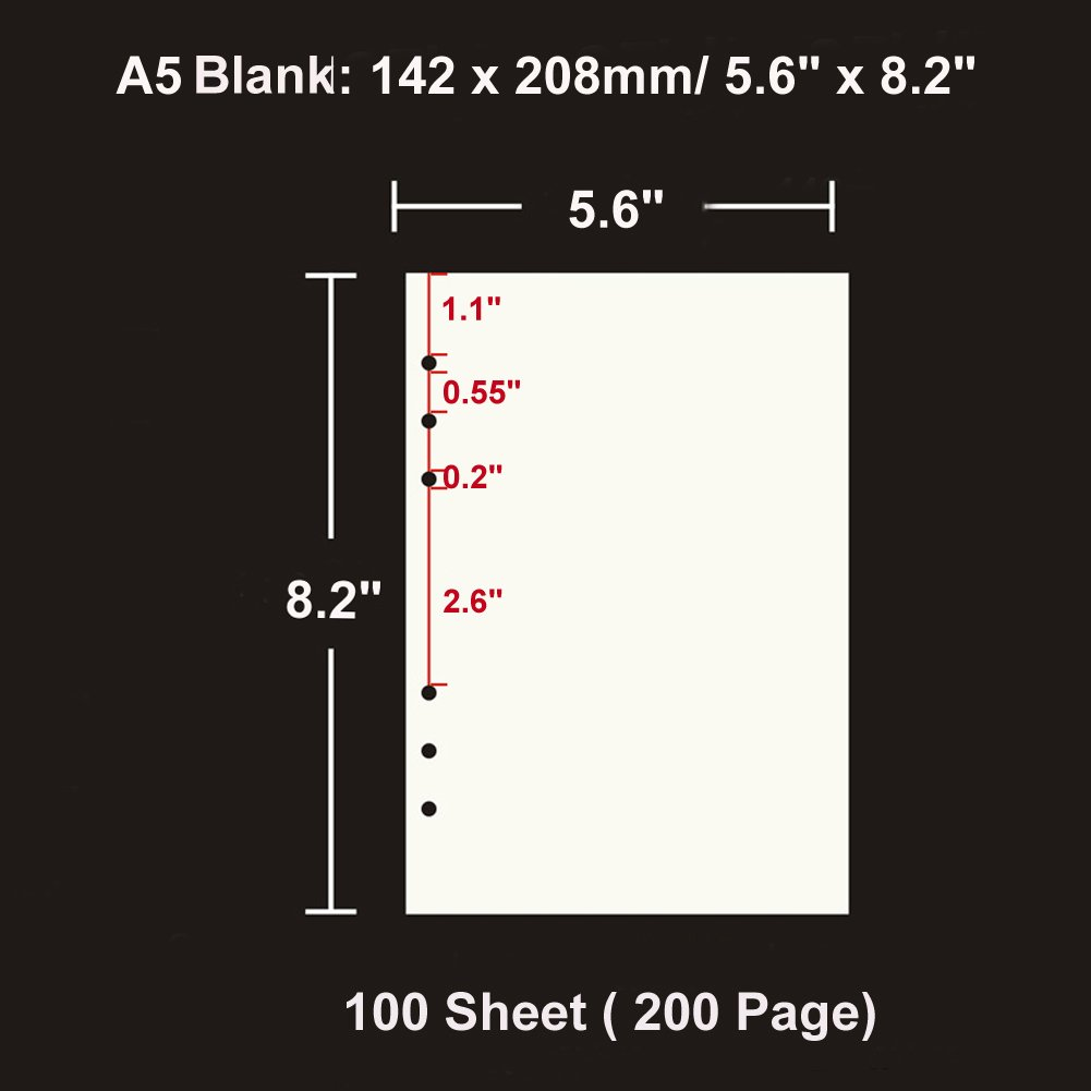 A5 Refill Paper 6 Hole Punched Filler Paper Refills for A5 Loose Leaf Notebook Travel Journal Personal Diary Planner Binder Scrapbook 5.6 Inches x 8.2 Inches Blank Paper 100 Sheet