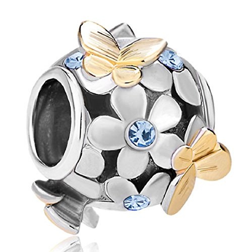 Flying Butterfly Flower Golden 925 Sterling Silver Charm Crystal Bead Fits European Charms (Sapphire September ()