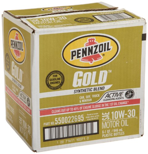 Pennzoil 550022695-6PK Gold SAE 10W-30 Synthetic Blend Motor Oil, 1 Quart (Pack of 6) - Pennzoil Synthetic Blend