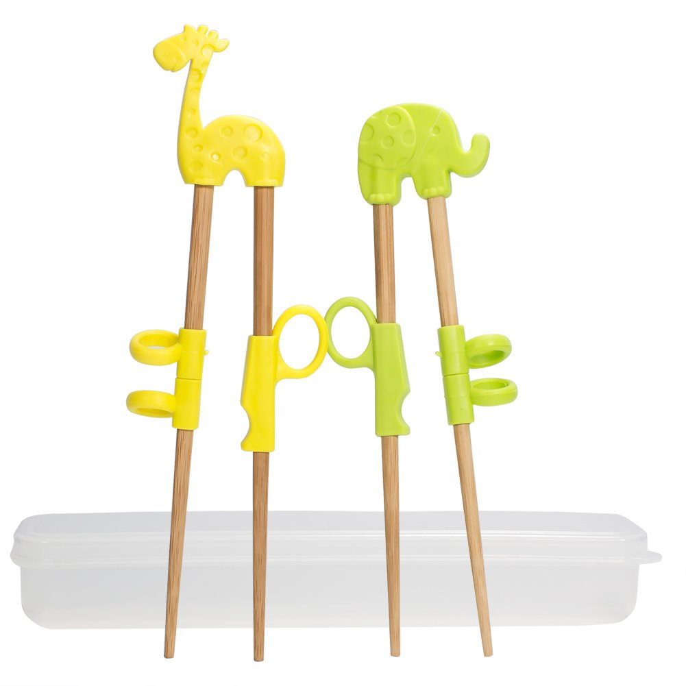 Training Chopstick,UniquQ 2 Pairs Animal Training Chopsticks Helper for Children Kids Natural Wooden Training Chopsticks