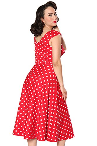 Bettie Page Romaine À Pois Vacances Robe (rouge / Blanc) Par