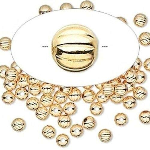 100 Gold Plated Brass Corrugated Round Metal Beads ~ 3mm ()