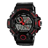Skmei Men's Waterproof Personality Outdoor Sports Electronic Double Movement Fashion Multi-Function Watch(5 Styles) (red)