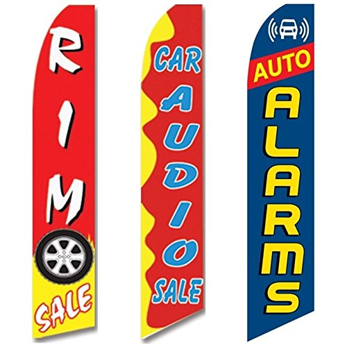 3 Swooper Flags Car Audio Rim SALE Auto Alarms Flag Red Yellow & Blue