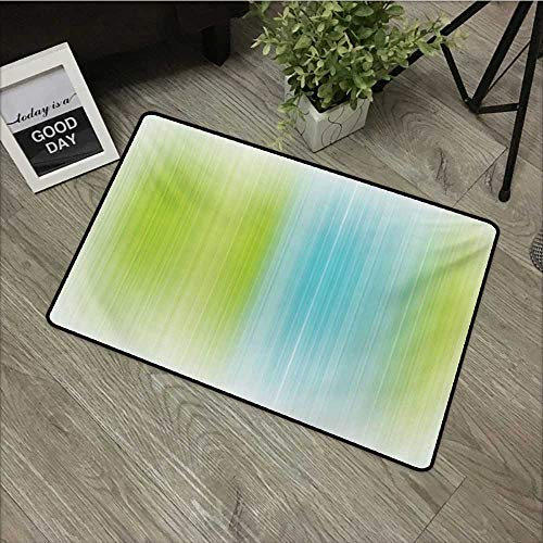 Bathroom mat W19 x L31 INCH Modern,Digital Striped Texture Vertical Never Ending Lines Technical Long Narrow Bands Bars,Blue Green Natural dye printing to protect your baby's skin Non-slip Door Mat - Teak Bar Royal