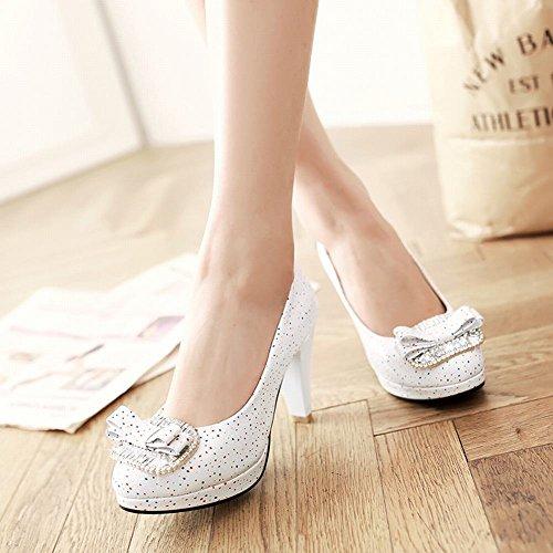 Carolbar Women's New Style Fashion Bow High Heel Rhinestones Court Shoes White TxHcxLz
