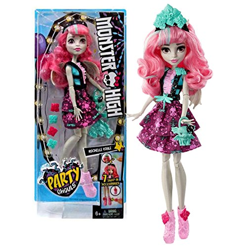 Mattel Year 2016 Monster High Party Ghouls Series 11 Inch Doll Set - Daughter of Gargoyles ROCHELLE GOYLE with 7 Snap In Accessories and Roux Purse