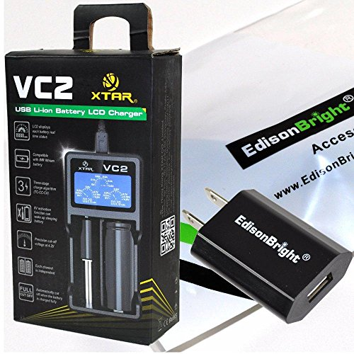 XTAR VC2 universal USB powered smart battery Charger For Li-ion / IMR 10440/14500/14650/16340/17500/17670/18350/18500/18650/ 18700/ 22650/25500/26650 3.6/3.7V types with EdisonBright brand USB power adapter bundle