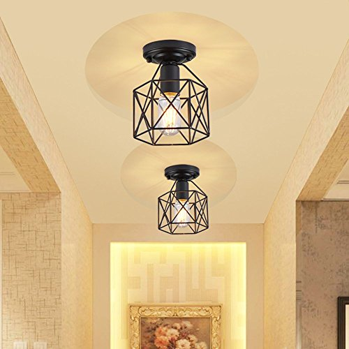 Lysed Semi-Flush Mount Ceiling Light E26/27 Edison Bulb Industrial Vintage Style Black Painting Finish for Hallway Study Room Office Bedroom Decoration Vanity Lights Hanging Light Fixture by Lysed (Image #9)