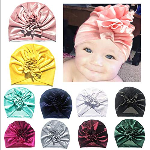 Udolove Baby Headband Set- Girl Soft Turban Knot Rabbit Headwrap Hospital Hat (11pcs Gold Velvet Flower Set)