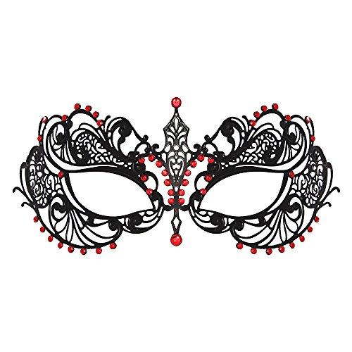 [WINK KANGAROO Women's Laser Cut Metal Venetian Masquerade Crown Mask (Classic Style, Black/Red)] (Red Masquerade Mask)