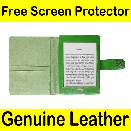 Genuine Leather Kindle Jacket - Mochie (tm) Genuine Leather Pouch Case Cover Jacket for Amazon Kindle Touch Green