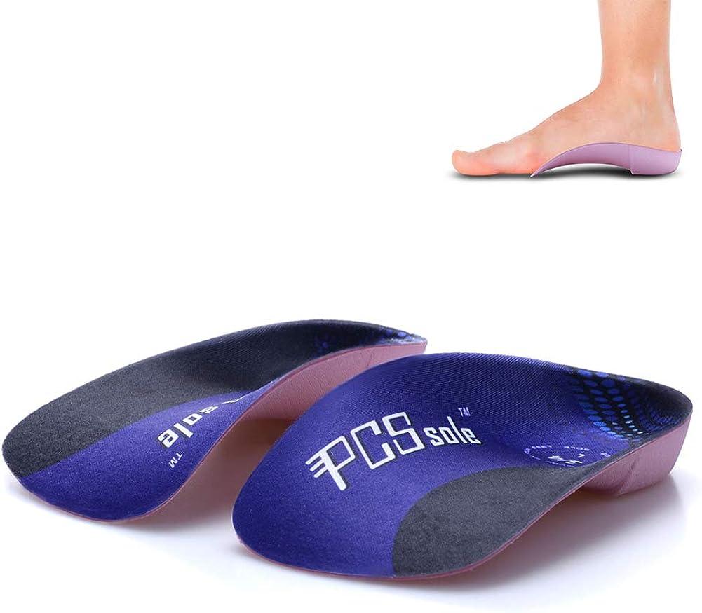 PCSsole 3/4 Plantillas de calzado ortopédico Soportes de arco alto Plantillas de zapatos para la fascitis plantar,Pie plano, Sobre-pronación,Alivio del dolor del talón