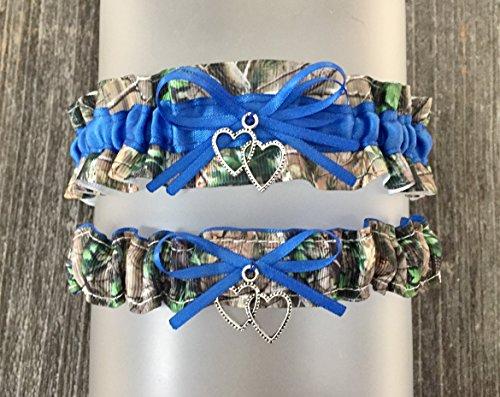 Sexy Royal Blue Camouflage Satin Camo Wedding Bridal Garter SET - Double Heart -