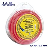 GENPAR - String Trimmer Line (1-Pound-Donut) Nylon Type SQUARE .130-inch (3.3mm) - Heavy Duty Grade for electric or gas powered Brush cutters and hedge grass trimmers String Spool (135 FEET - 1 POUND)