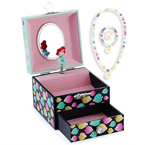 (Round Rich Musical Jewelry Box - Musical Storage Box with Drawer and Jewelry Set with Lovely Mermaid Theme - Beautiful Dreamer Tune)
