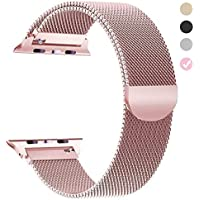 Tirnga Compatible con Apple Watch Band 1.654in 1.496in 1.732in 1.575in, iWatch bandas Milanese Loop para Series 4 3 2 1