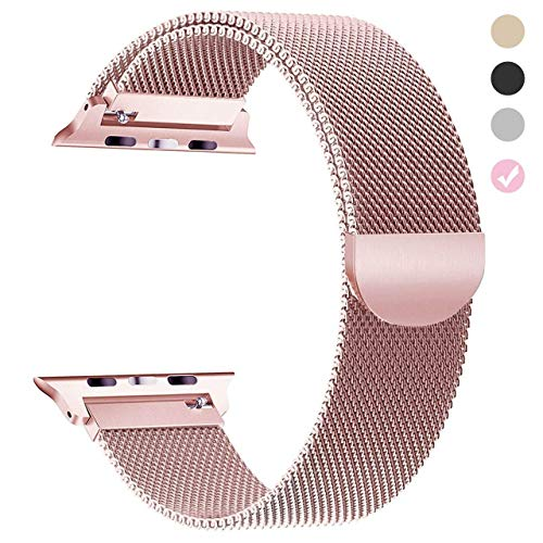 Tirnga Compatible with Apple Watch Band 38mm Rose Gold Milanese Loop Metal Strap for iWatch Bands