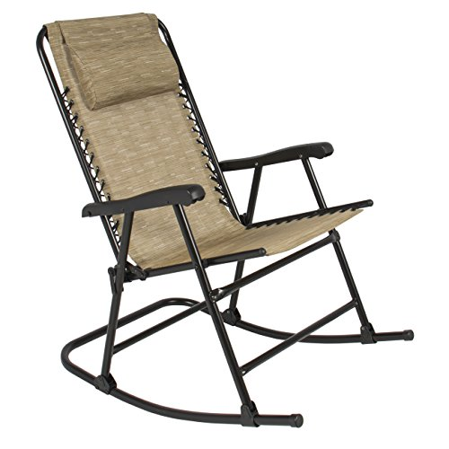 Rocking Folding Chair Patio Outdoor Rocker Furniture Foldable Beige Camping Seat