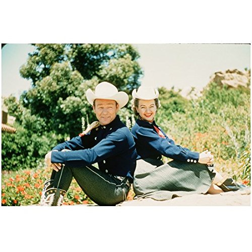 Roy Rogers 8 inch by 10 inch PHOTOGRAPH My Pal Trigger King of the Cowboys Bells of San Angelo w/Dale Evans Both in White Hats & Blue Shirts - 10 My Rogers