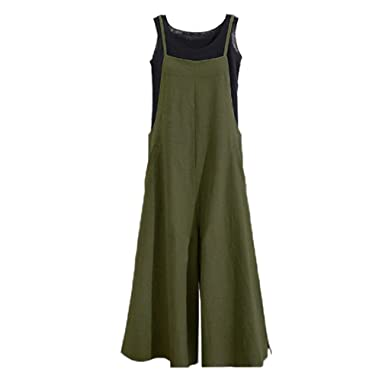 a4c7f499918a0 Hibote Women's Plus Size Linen Overalls Baggy Strap Sleeveless Jumpsuits  Casual Loose Wide Leg Dungarees Rompers: Amazon.co.uk: Clothing