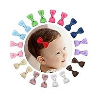 "Shemay 10 pares 2 ""Tiny Boutique Grosgrain Ribbon Hair Bow Clips de cocodrilo Barrettes para bebés niñas niños pequeños"