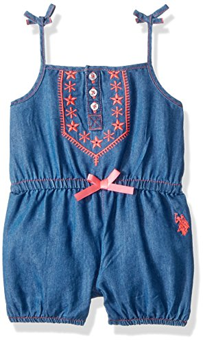 (U.S. Polo Assn. Baby Girls, Bow tie Straps Short Romper Medium wash, 12M)