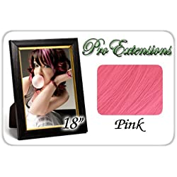 "Pro Extensions 18"" Pink Highlight Streaks Clip-in Human Hair Extensions"