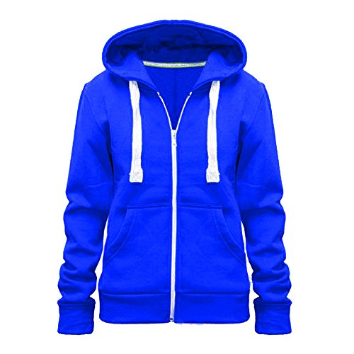 Lisa Para Dama Color Con capucha jersey cremallera capucha talla grande (UK 8-28) - algodón, Azul Real, 50% algodón 50% poliéster 50% algodón 50% poliéster, mujer, EU TALLA XL=42