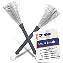 Tunne Drum Brushes with Comfort Grip and Flex Wire for Clear, Easy Drumming