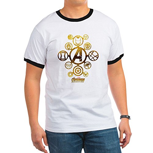CafePress Avengers Infinity War Icons - Ringer T-Shirt, 100% Cotton Ringed T-Shirt, Vintage Shirt Icon Ringer