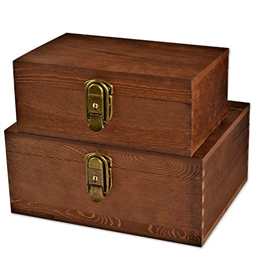 [Mustard 2 Sets] Wood Storage Box Kit Wooden Boxes Card Document Archival Jewelry Trunks Case Cabinet Container with Lock and Key Western Rustic for Keepsake Silverware Organizer Album Collection - Wooden Pill