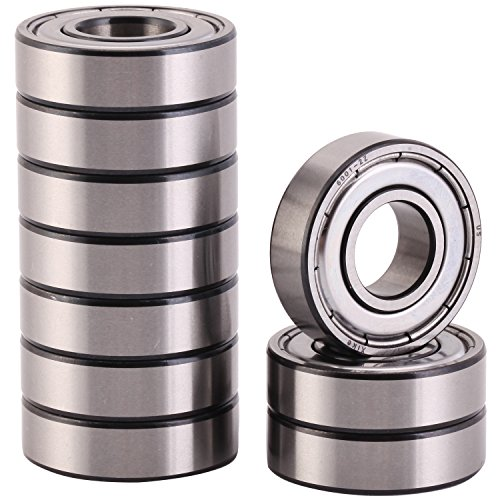 XiKe 10 Pack 6001ZZ Precision Bearings 12x28x8mm, Rotate Quiet High Speed and Durable, Double Shield and Pre-Lubricated, Deep Groove Ball Bearings. by XiKe