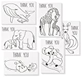 48 Pack Baby Shower Thank You Cards – Greeting Card with 6 Mommy Baby Animals Designs, Includes 48 Envelopes – 4 x 6 inches