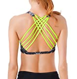 Queenie Ke Womens Yoga Sport Bra Light Support Strappy Free To Be Bra Size XL Color Black Prints Across