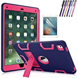 iPad Pro 9.7 Case, Mignova Heavy Duty Rugged Impact Hybrid Protective Case with Build in Kickstand for Apple iPad Pro 9.7 inch (2016 Release) + Screen Protector Film and Stylus Pen (Navy Blue/Pink)