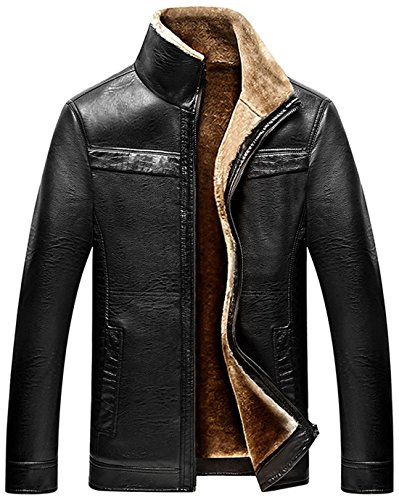 Chouyatou Men's Winter Full Zipper Thick Sherpa Lined Faux Leather Jacket (Black, X-Large) (Fur Button Front Jacket)