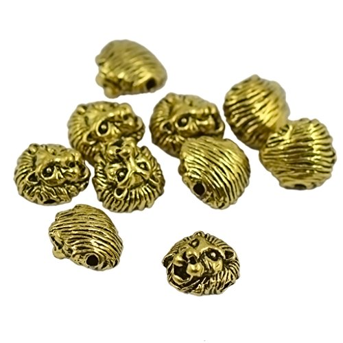 Lot de 10 Tête de Lion en Métal Espaceur Breloque Perle pour Bracelet Collier