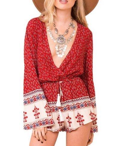 CRAVOG Sommer Damen Minikleid Strandkleid Jumpsuit kurz Overall Tunika Floral Einteiler Playsuit